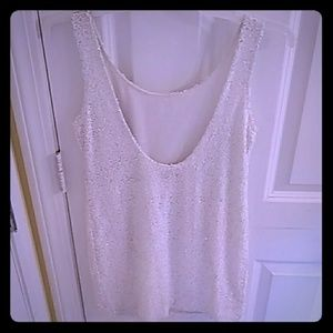 NWT scoop back white sequin lioness cocktail dress